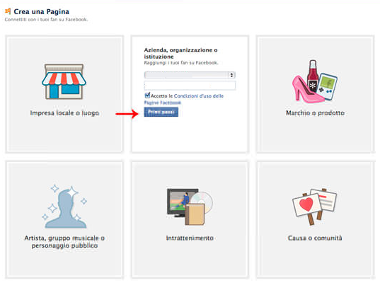 creazione pagina facebook aziendale tipologie