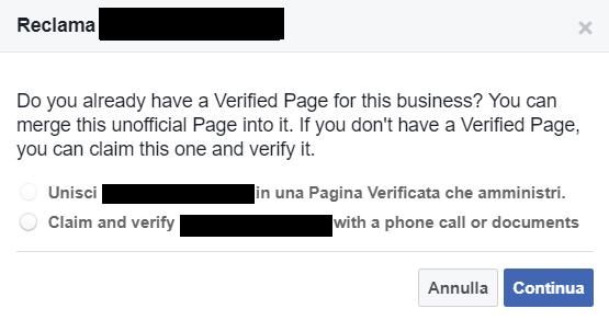 Schermata pagina non ufficiale